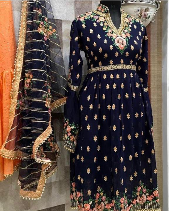 New Trend Blue Color Embroidered Sarara Suit With Dupatta