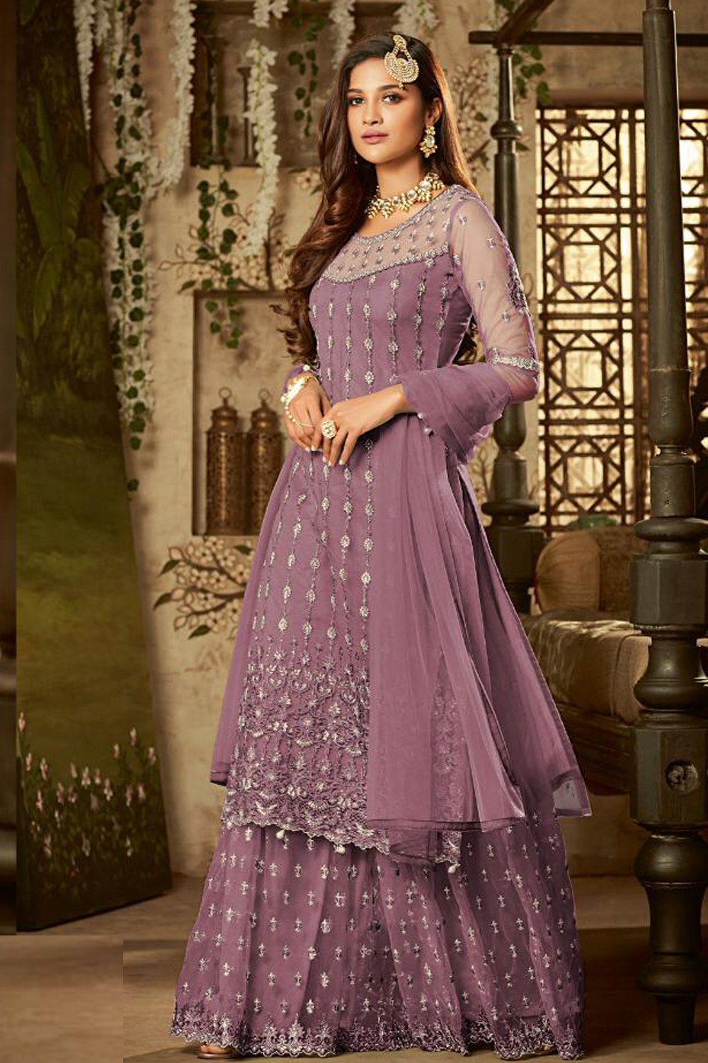 Blooming Purple Color Square Net Semi Stitched  Suit