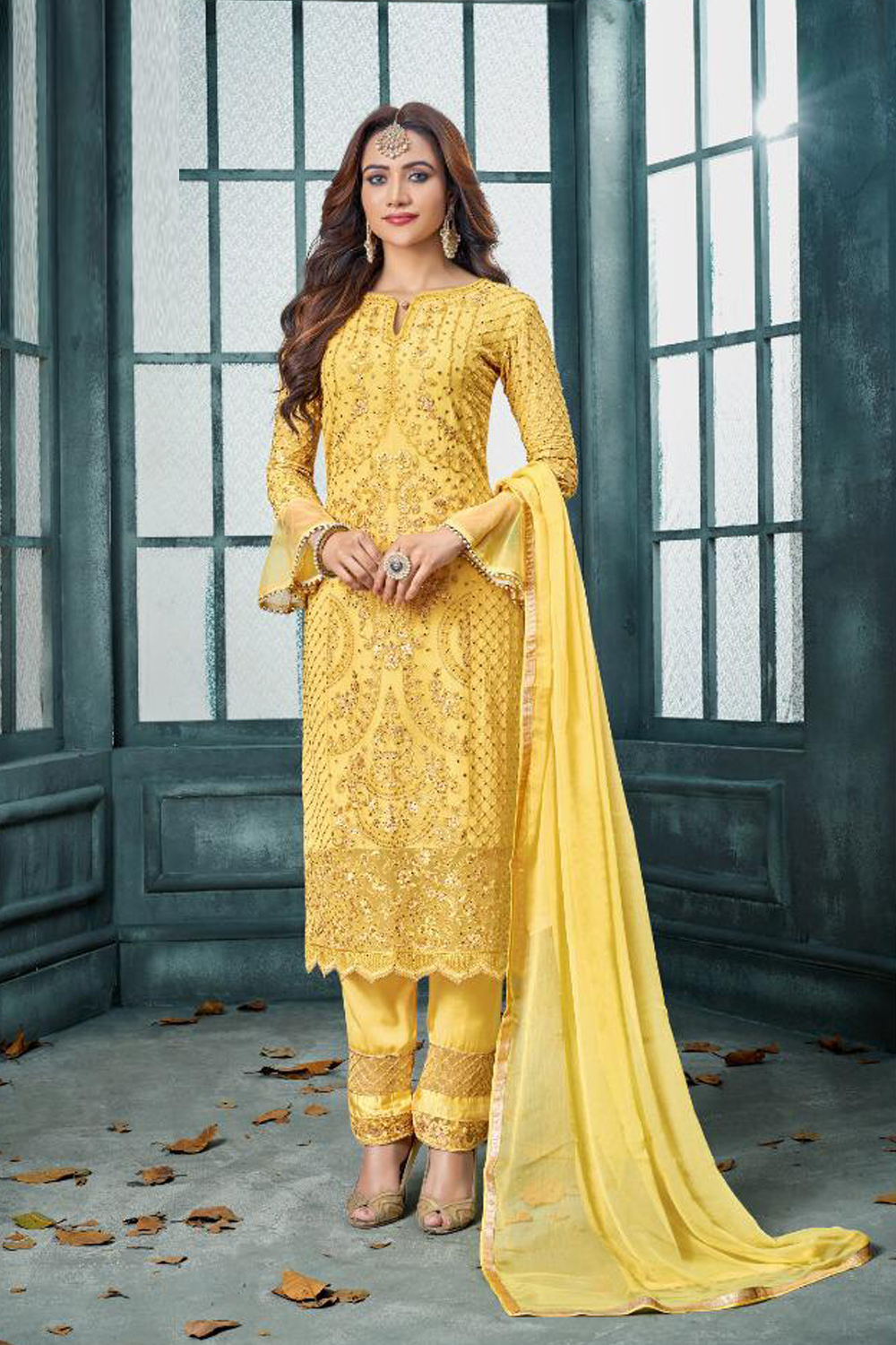 Sensational Yellow Color Fox  Georgette Suit