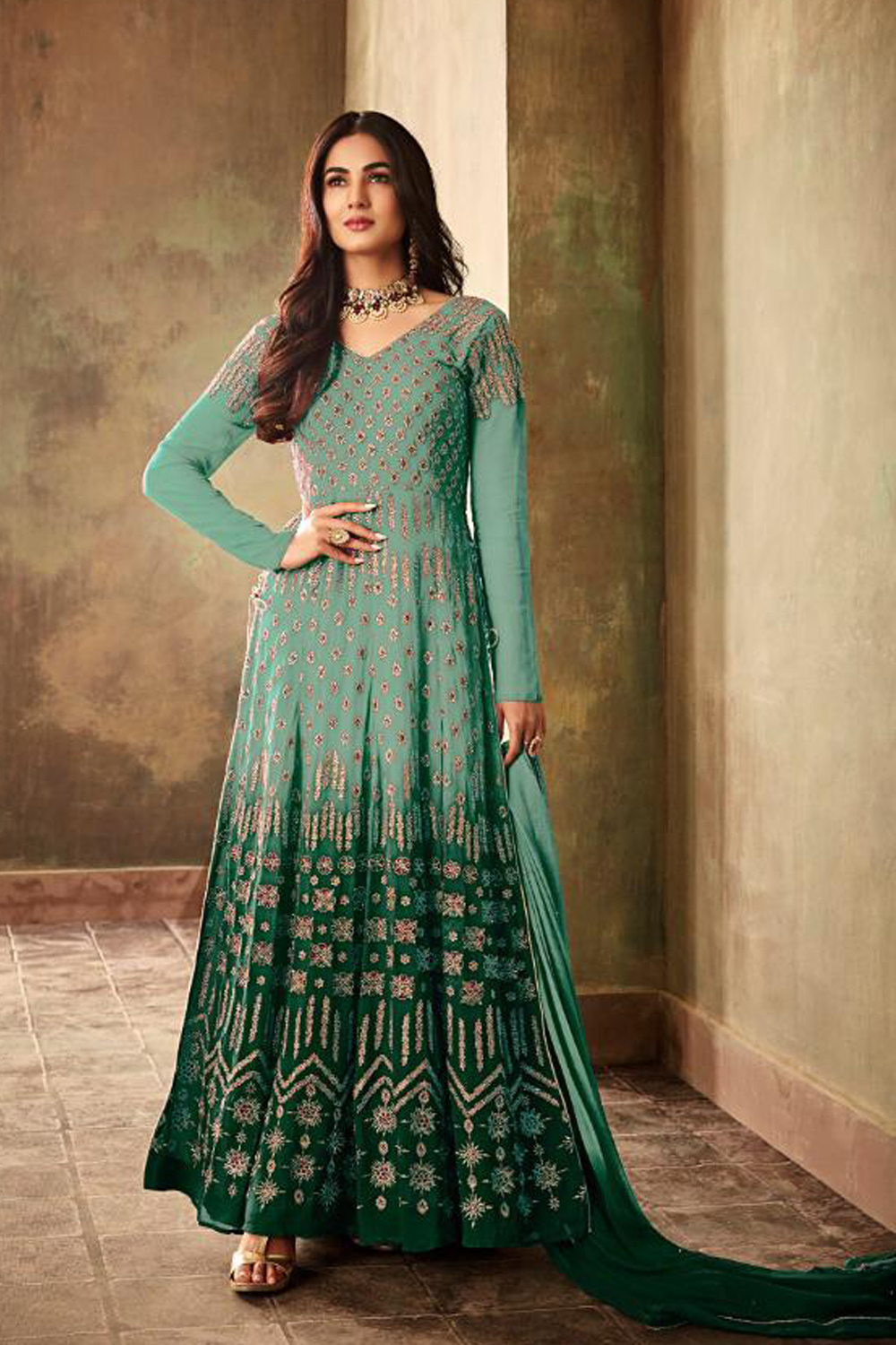 Adorable Light Sea Green  Color Heavy Embroidery Salwar Suit
