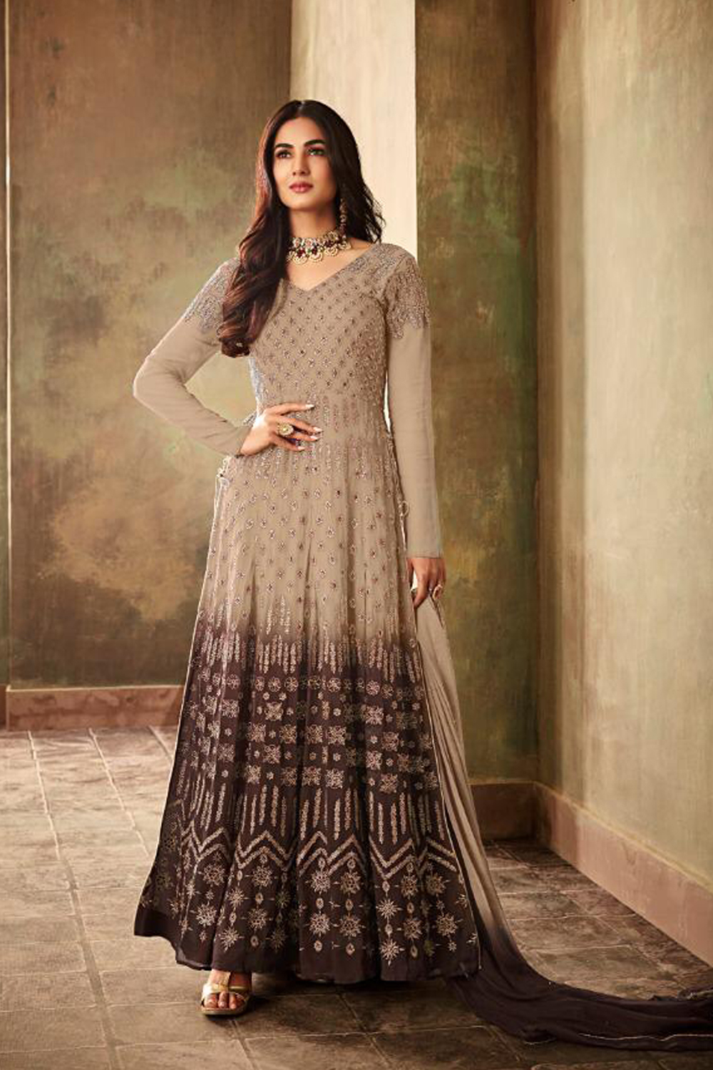 Adorable Beige  Color Heavy Embroidery Salwar Suit