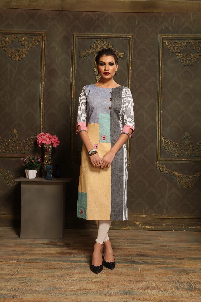 Lovely Yellow Khadi cotton Print Party Wear Kurti