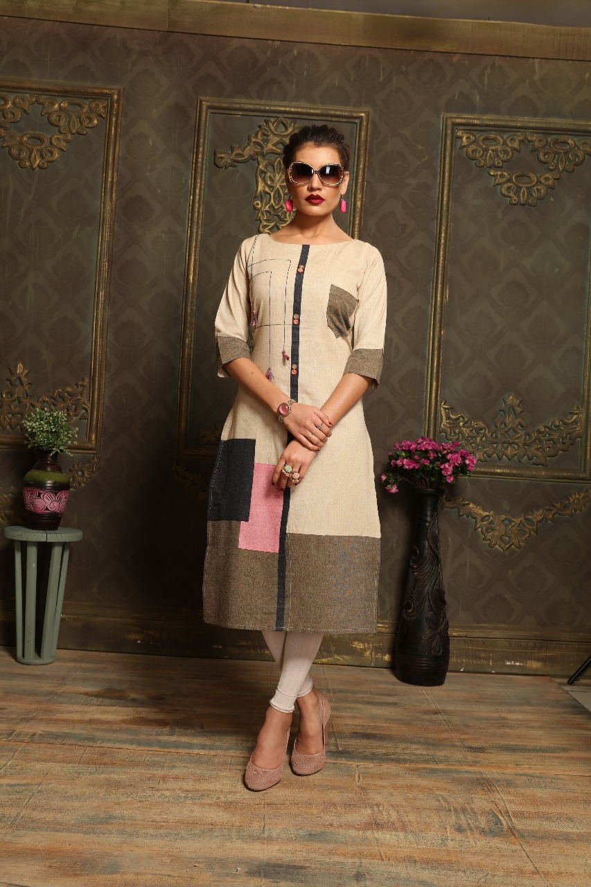 Excellent Off White Khadi cotton Print Party Wear Kurti