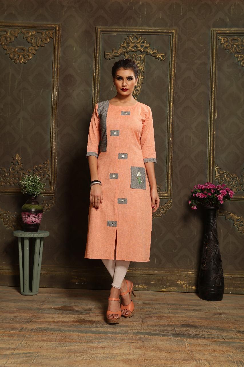 Lovely Orange Khadi cotton Print Party Wear Kurti