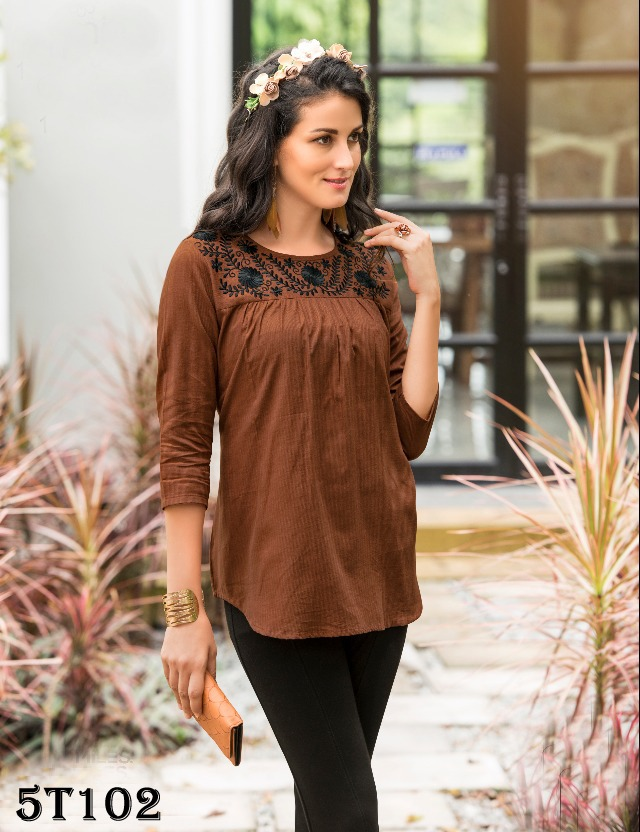 Impressive Coffee Colored Pure Heavy Rayon Top