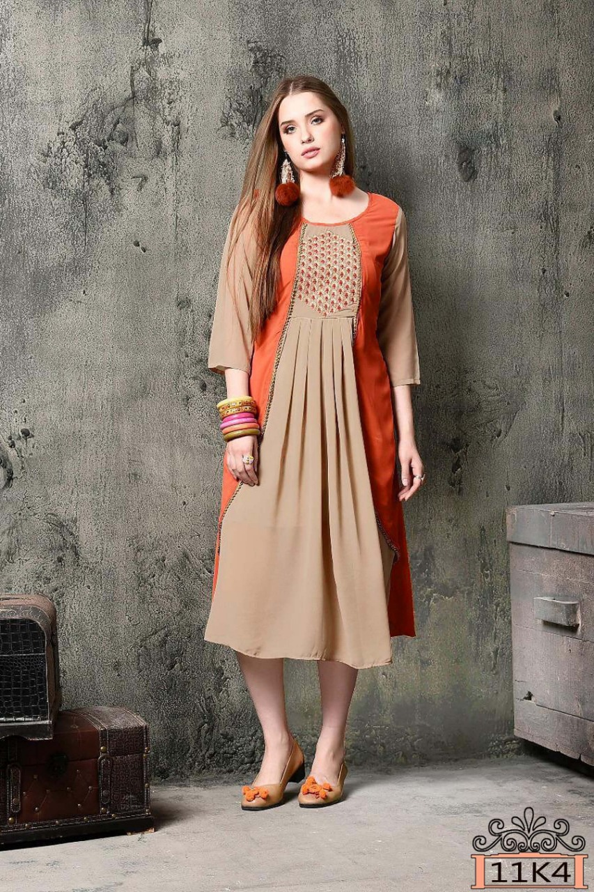 Blissfull Heavy Faux Georgette Beige Color Kurti