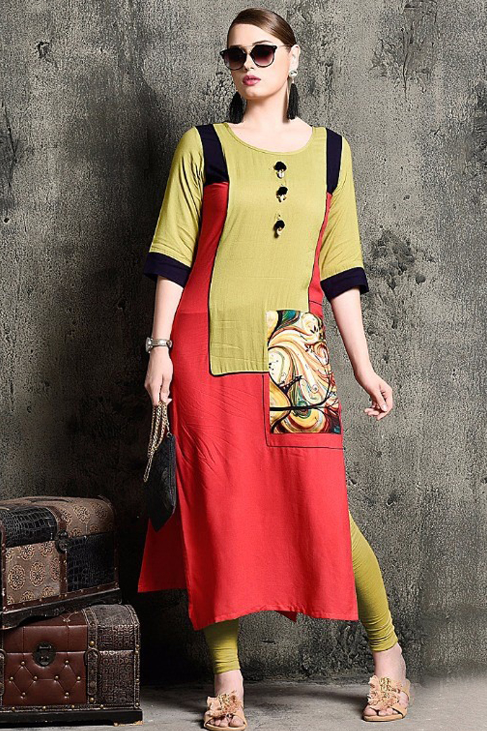 Pretty Red Rayon Print Party Wear Kurti