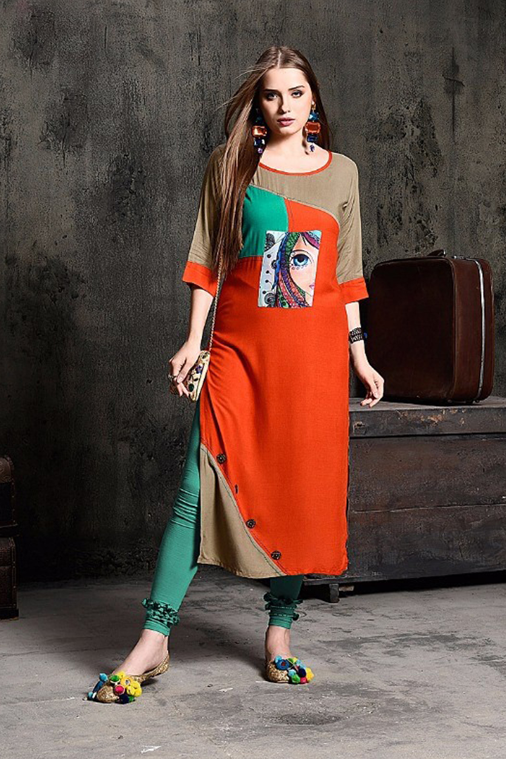Pretty Orange Rayon Print Party Wear Kurti