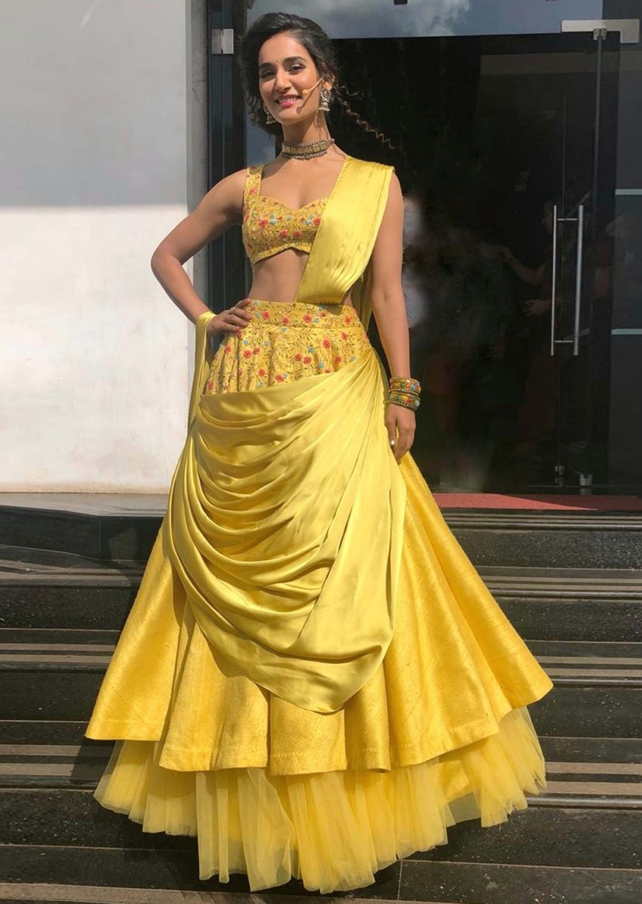 New Yellow Color Western Lehenga