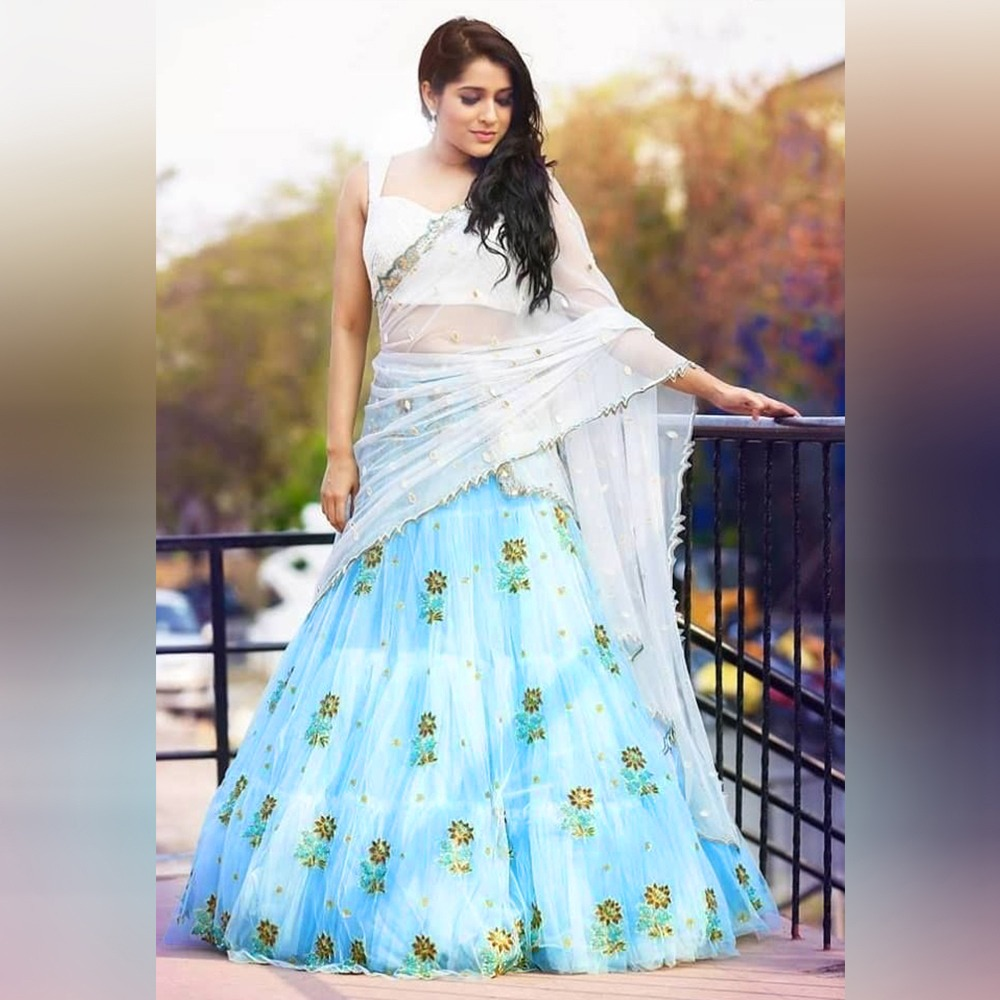New Latest Designing Sky Net Ruffle Lehenga With Embroidery Zari Work Dupatta