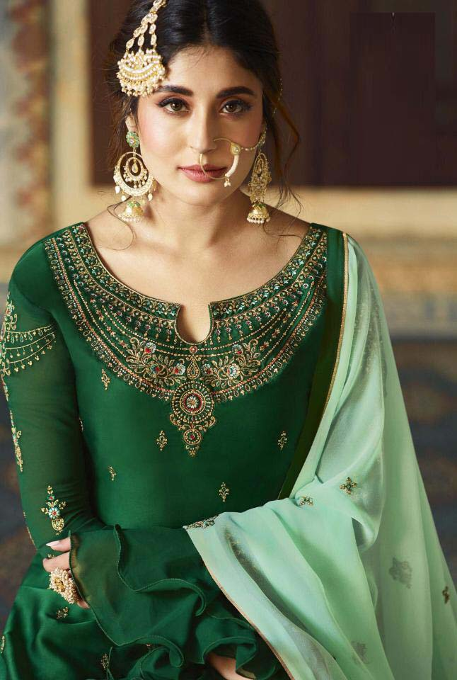 Graceful  Green Color Georgette Party Wear Suit
