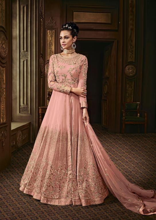Innovative Peach Color Squence And Diamonds Suit