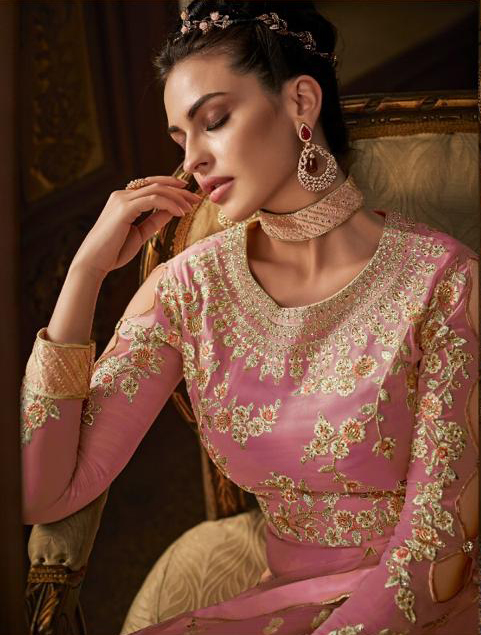 Magnetic Light Pink Color Georgette Suit