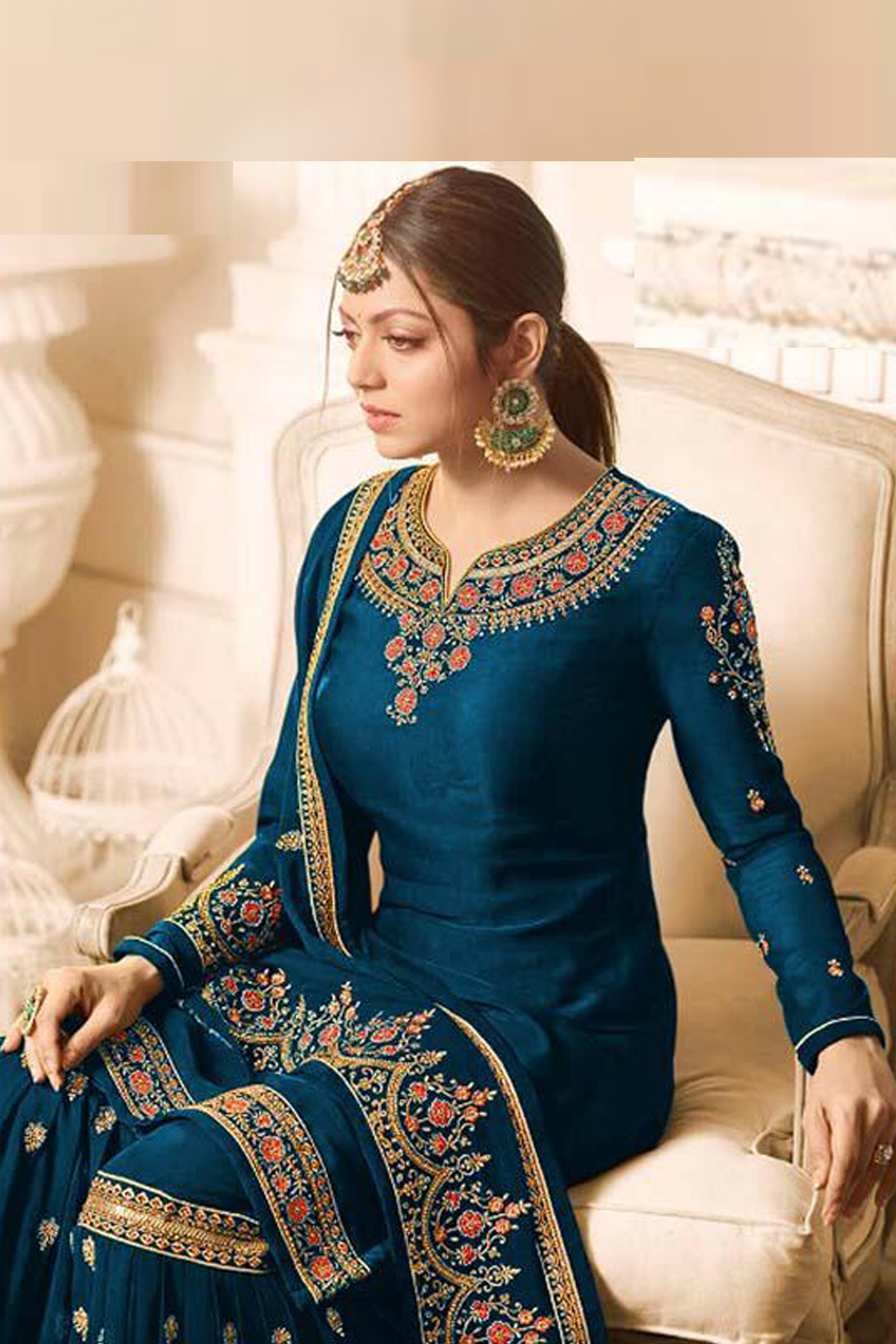 Nitya Sharara Steel Blue Color Georgette  Plazzo Suit