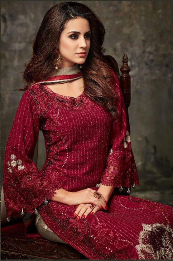 Flaunt Maroon  Color  Heavy Fox Georgette Embroidery Suit