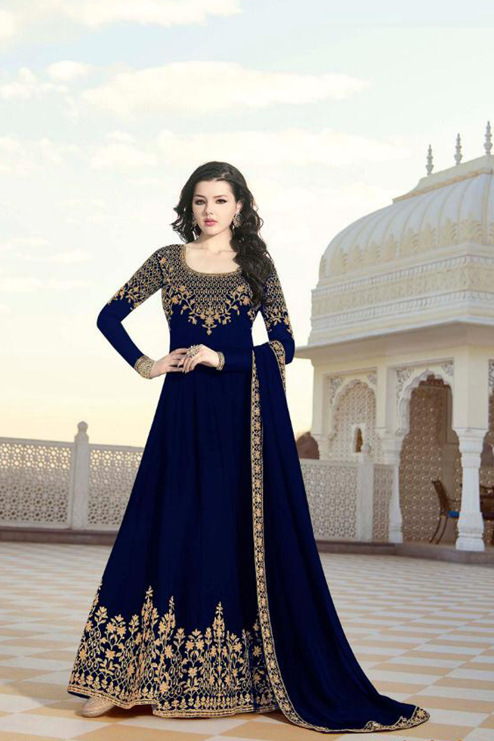 Excellent Neavy Blue Color Heavy Georgette With Embroidered  Suit