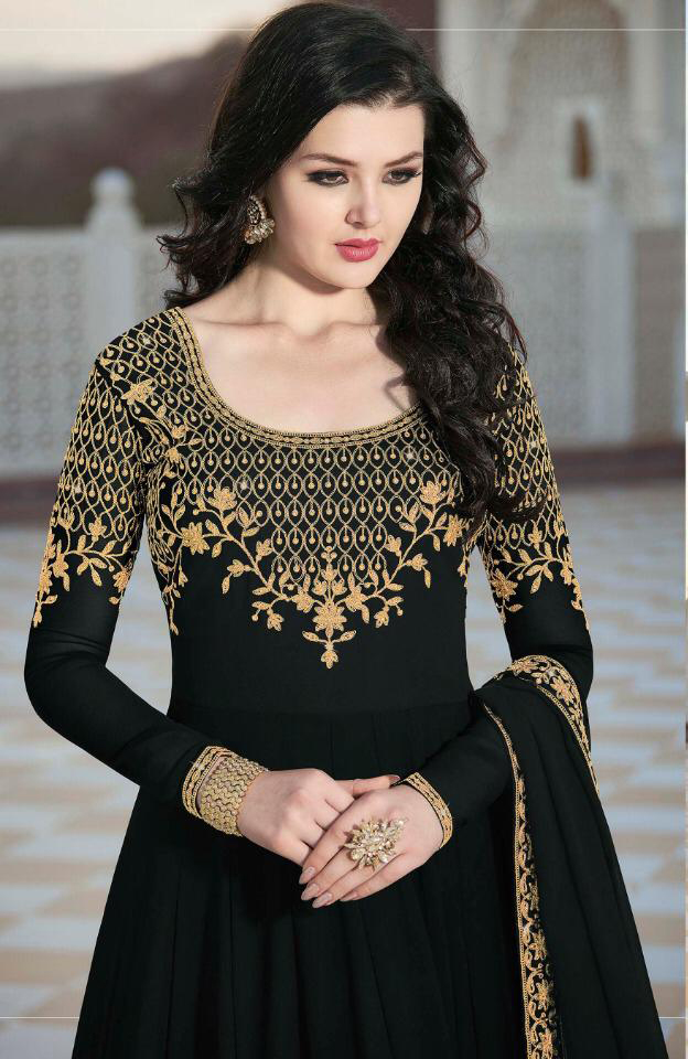 Breathtaking  Black Color Heavy Georgette With Embroidered  Suit