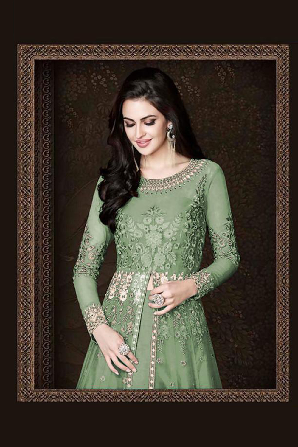 Flaunt Pista  Color  Heavy  Net With Embroidered  Suit