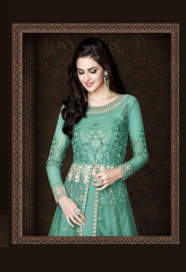 Gorgeous  Light Green  Color  Heavy  Net With Embroidered Suit