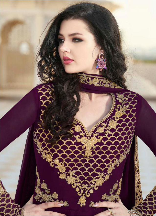 Adorable Purple Color Heavy Faux Georgette Embroidered Suit