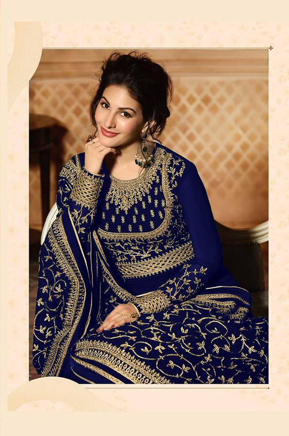 Designer Blue Color Heavy Embroidered Suit