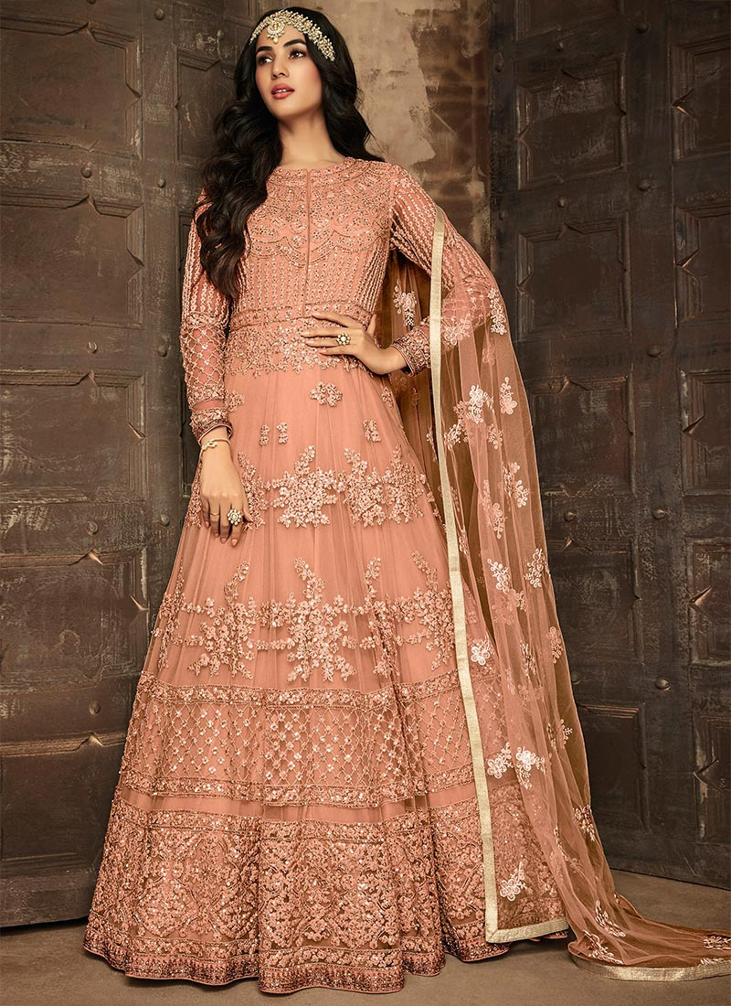 Fantastic Peach Color Semi-Stitched Embroidery Suit