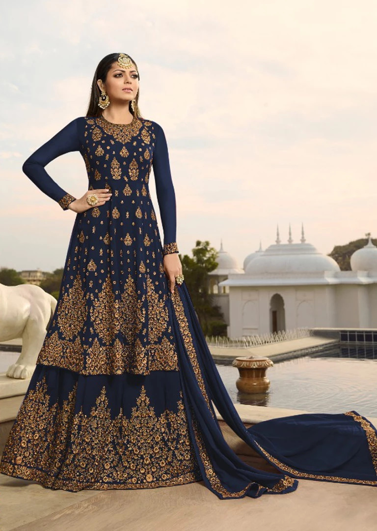 Mesmeric Firozi Color Semi-Stitched  Party Wear Suit
