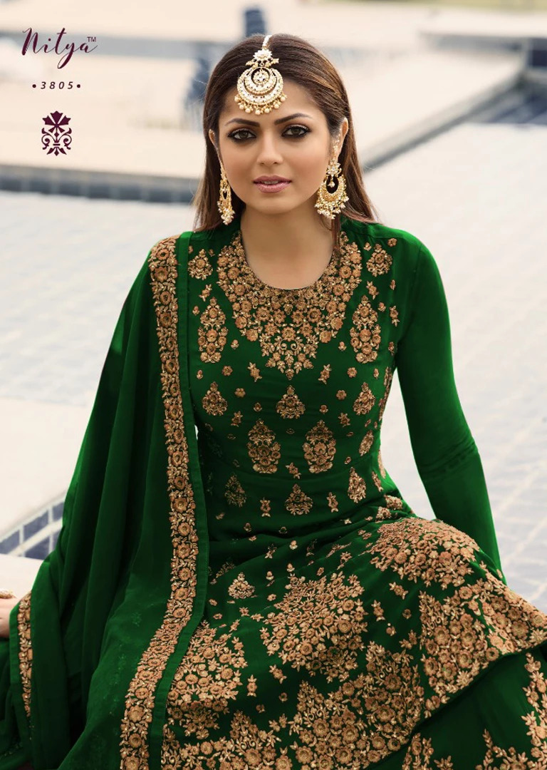 Beautiful siqance embroidery Drashti dhami Green Color Suit