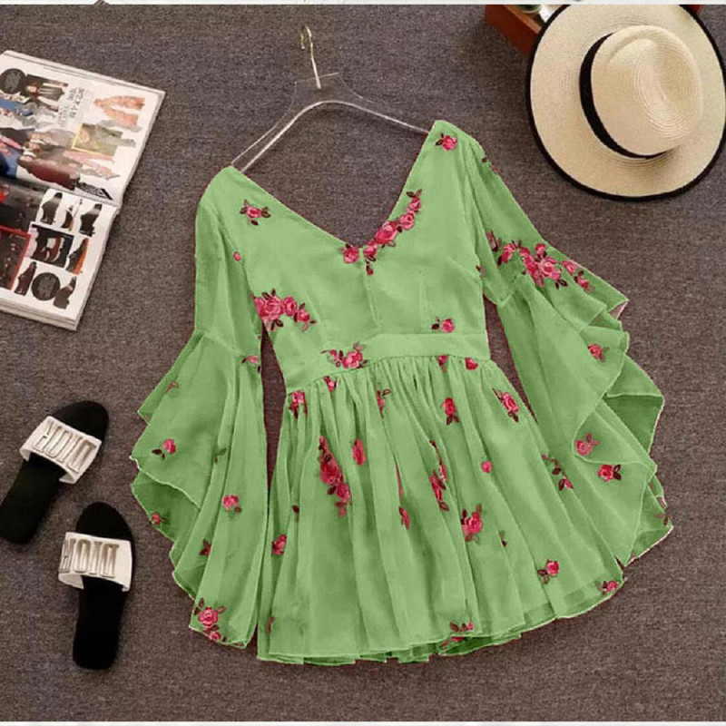 Wrap Style Green Flared Dress
