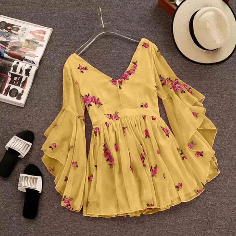 Wrap Style Yellow Flared Dress