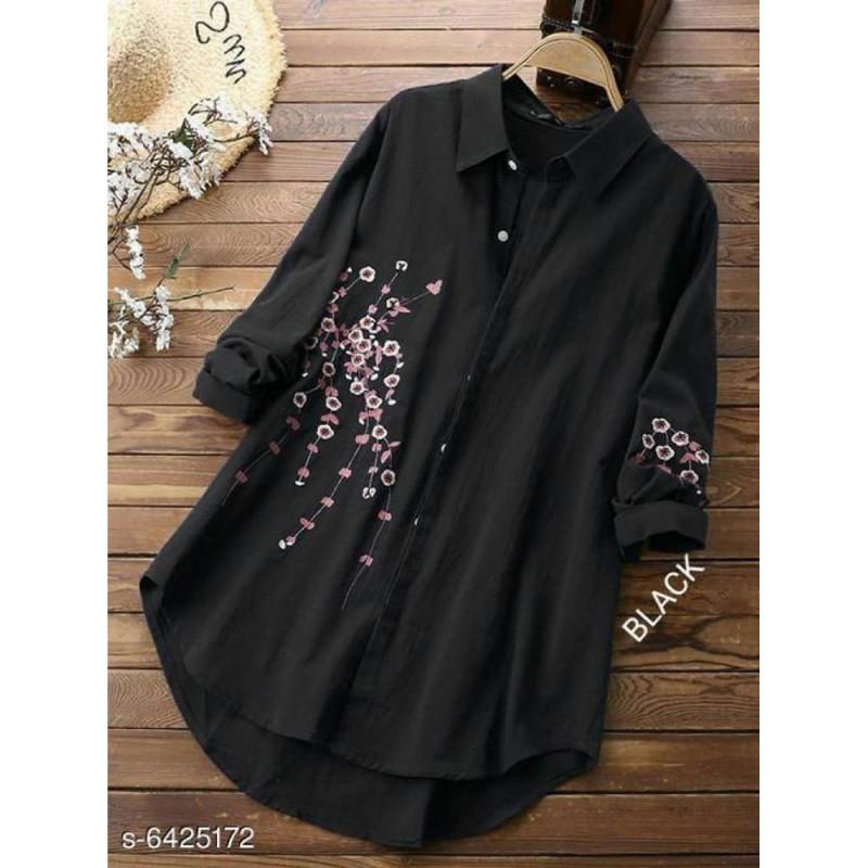 Impressive Pastel Casual Wear Black Colour Floral Embroidered