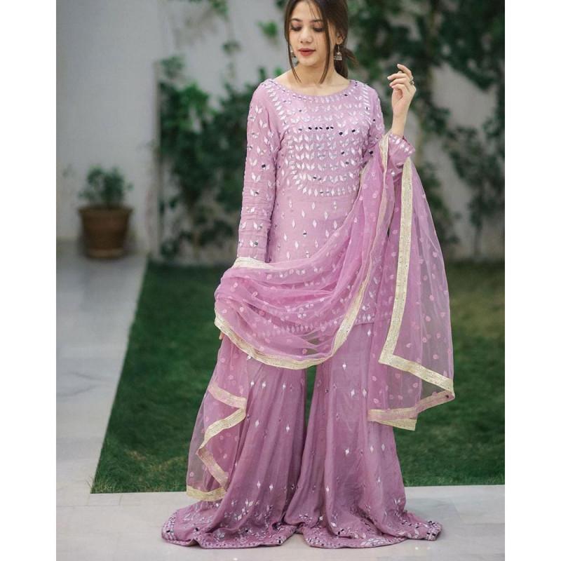 Alluring Light Purple  Partywear Mirror Work Palazzo Suit