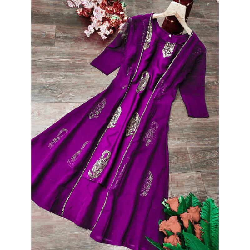 Imposing Purple  Casual Wear Foil Printed Kurti