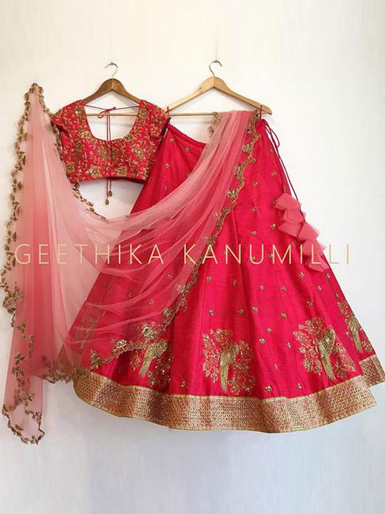 Admiring Red Embroidered Work Wedding Wear Lehenga Choli