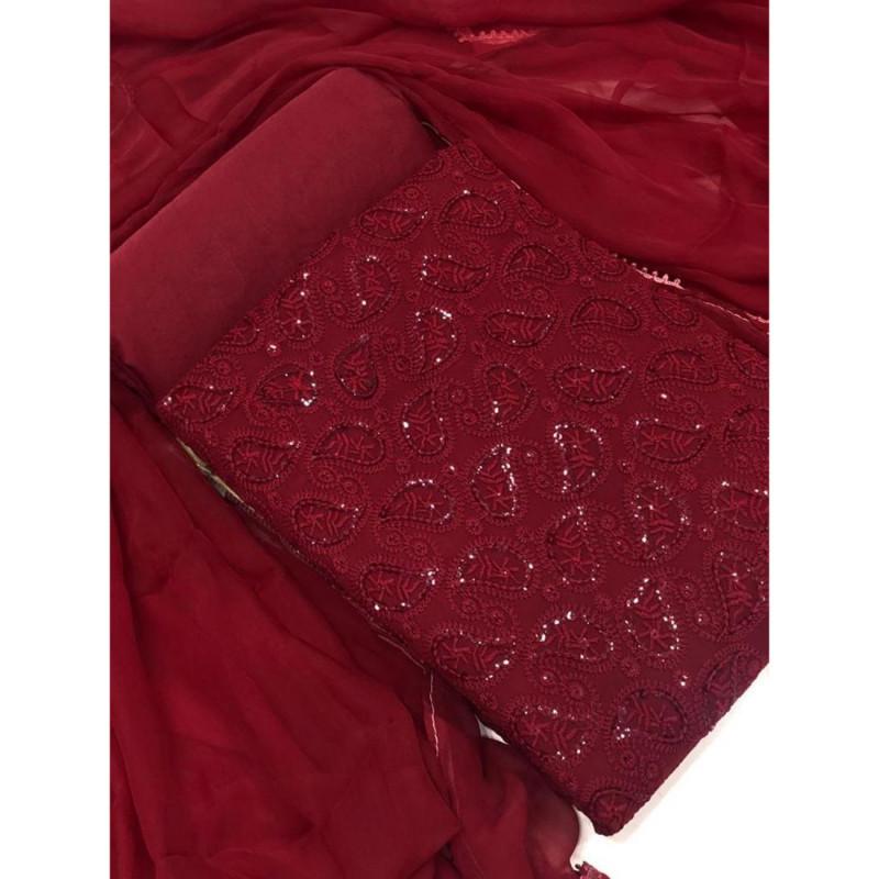 Maroon Color Georgette Embroidery  Salwar Suit Material