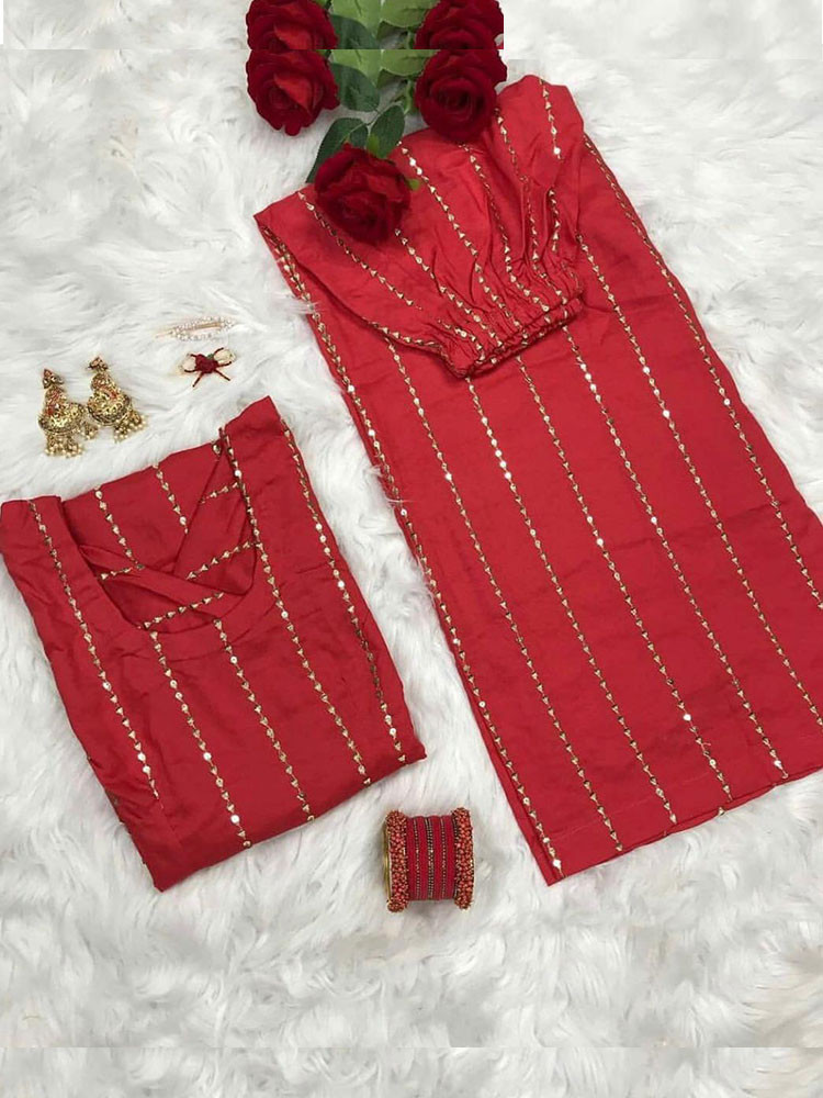 Sizzling Party Wear Red  Color Kurti Plazo Set