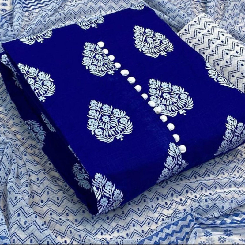 Casual Wear Royal Blue  Color Printed Unstitched Suit Materials