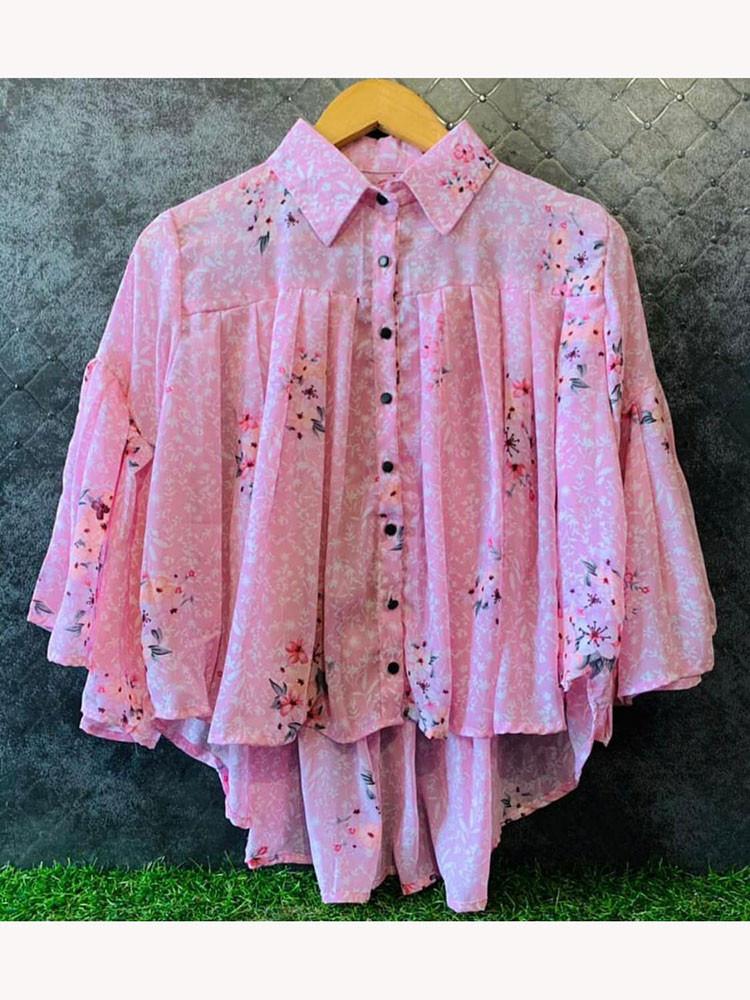 Awesome Pink Color Georgette Ready Made Flower Printed Woman Top