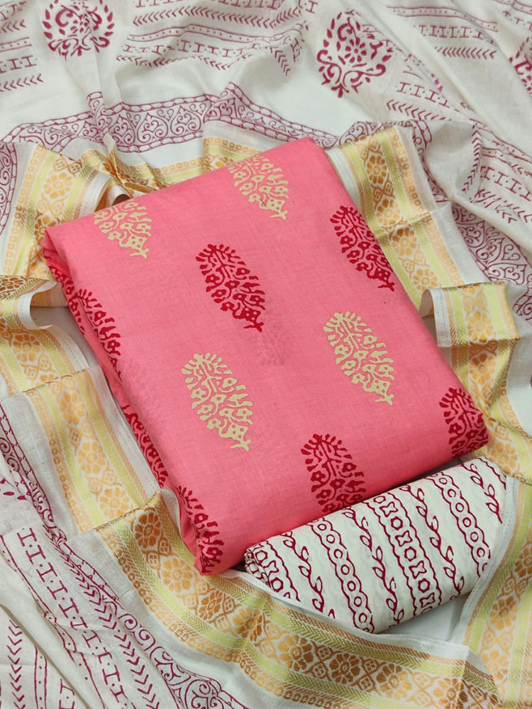 Casual Wear Pink Colour Cambric Printed Cotton Unstitched suit Materials