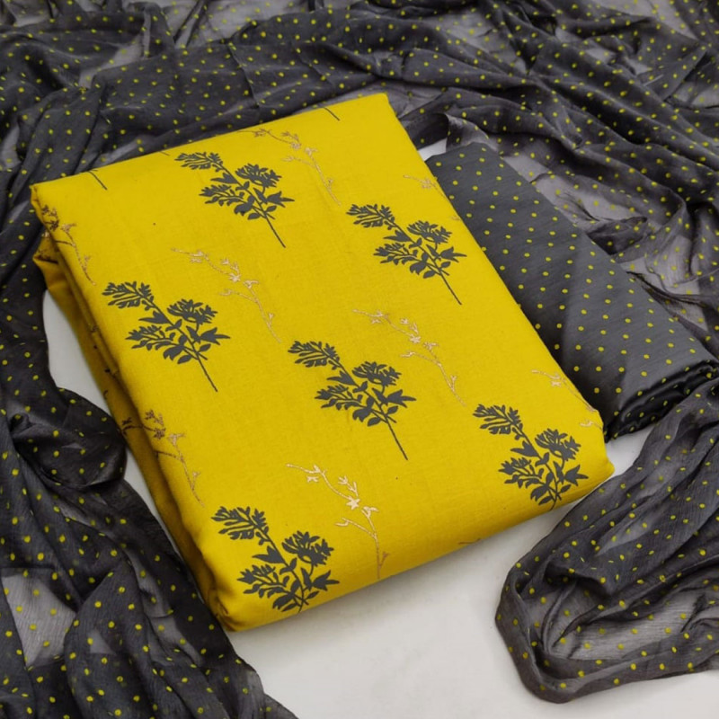 Yellow Color Festive Wear Cotton Printed Dress Material