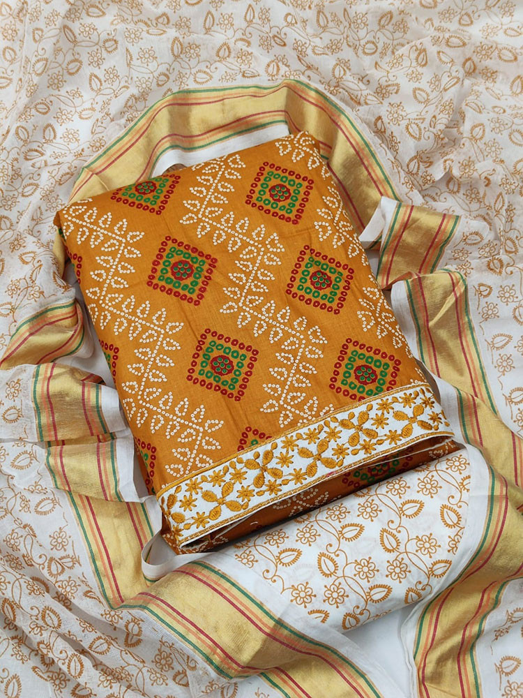 Function Wear Yellow Color Cotton Salwar Suit With Printed Work