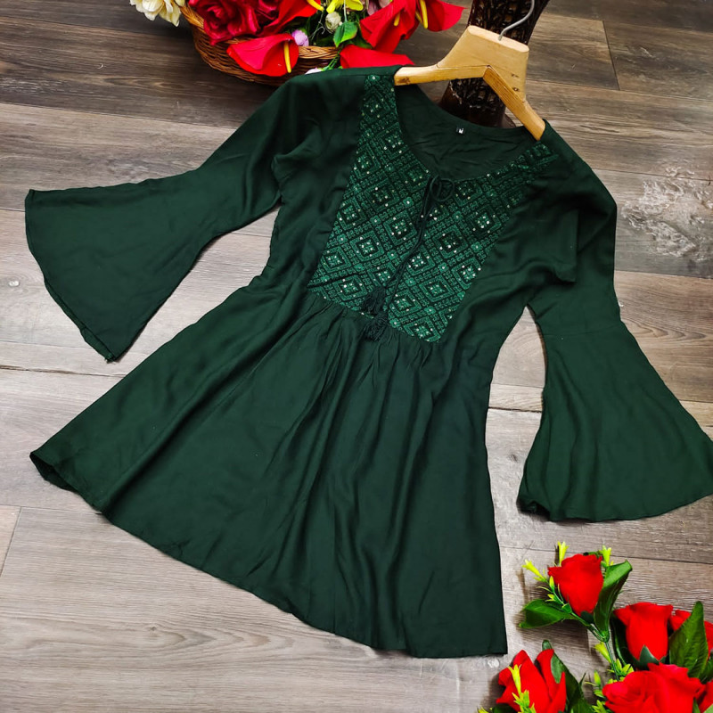 Fit & Flare Green Color Rayon Embroidered Tunic