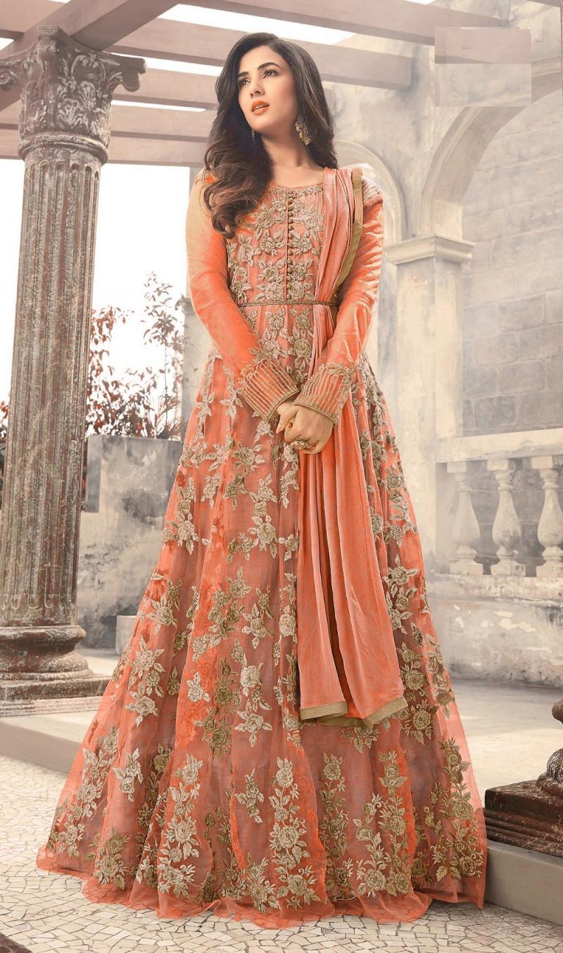 Attractive Net Women's Anarkali Gown