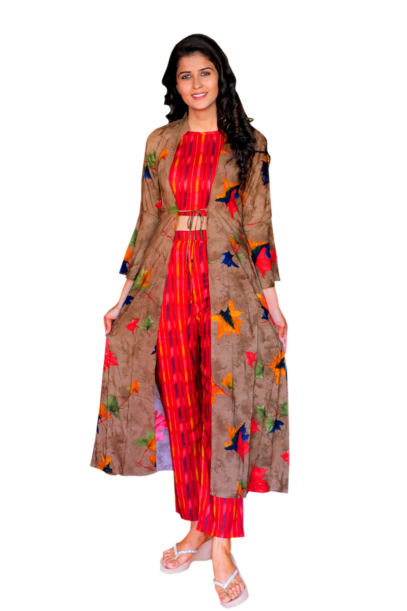 Ethnic Jacket, Blouse and Palazzo/Trouser Set