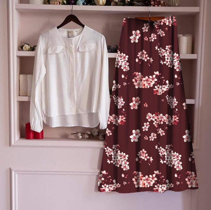 Women's Rayon Top With Long Skirt Set 23_White