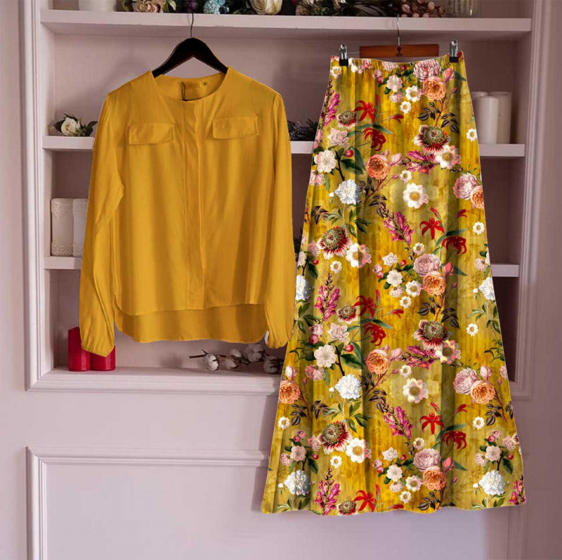 Top With Long Skirt Set 17_Yellow