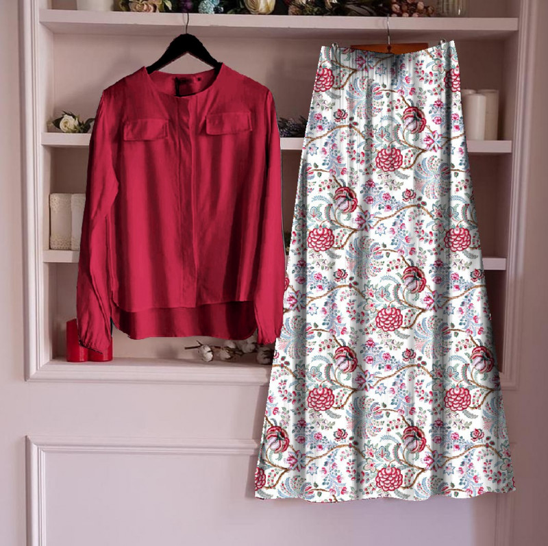 Top With Long Skirt Set 25_Red