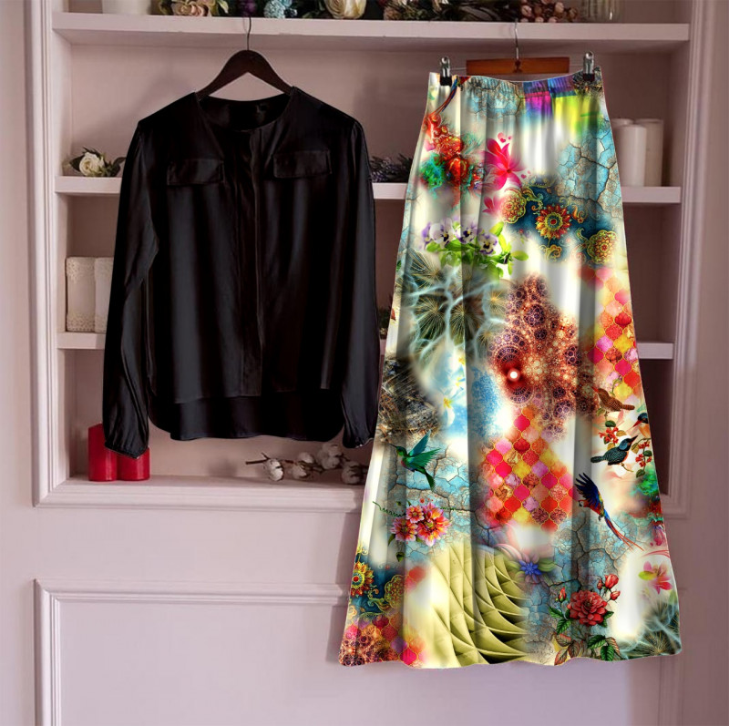 Women's Rayon Top With Long Skirt Set  3_Black