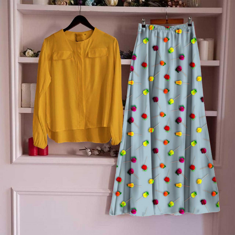 Women's Rayon Top With Long Skirt Set 7_Yellow