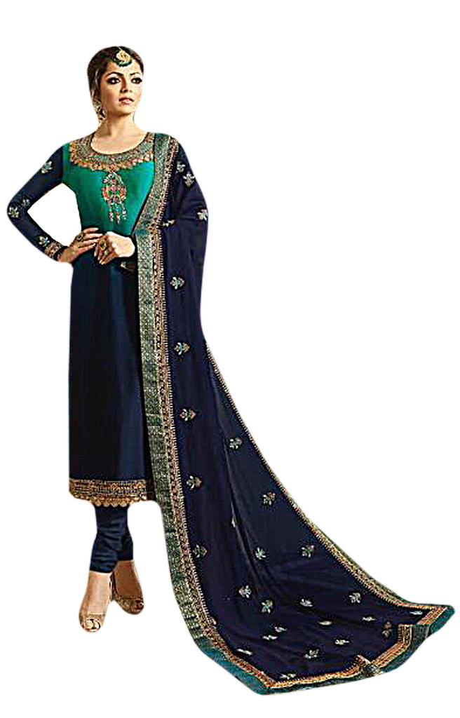 Entrancing Party Wear Embroidered Satin Georgette Suit